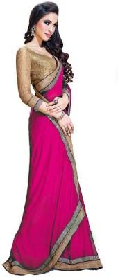 Sanjana2SwarupaFashion Solid Bollywood Georgette Sari