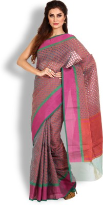 Kasturi-B Swadeshi Karigari Checkered Banarasi Handloom Cotton Sari