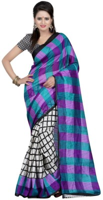 RajLaxmi Printed, Checkered Fashion Cotton Slub Sari
