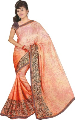 Swaman Floral Print Fashion Crepe Sari