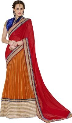 Moh Manthan Self Design Lehenga Saree Chiffon, Net Sari