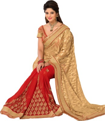 M.S.Retail Embroidered Bollywood Chiffon, Brasso Saree(Gold) at flipkart
