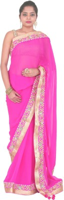 PurpleYou Embriodered Fashion Georgette Sari