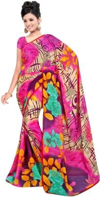 Maxusfashion Checkered Bollywood Georgette Sari