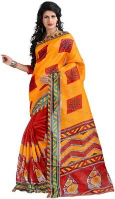 Sai Fabrics Printed Bhagalpuri Handloom Printed Silk Sari