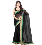 Suvastram Solid Fashion Net Saree (Black...
