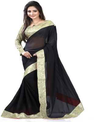 STYLO SAREES Plain Bollywood Georgette Sari