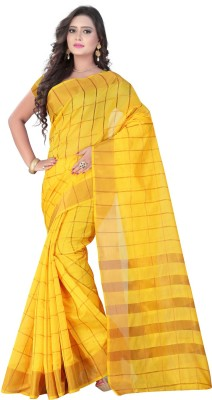 VASTRAKALA Checkered Bollywood Cotton, Silk Sari