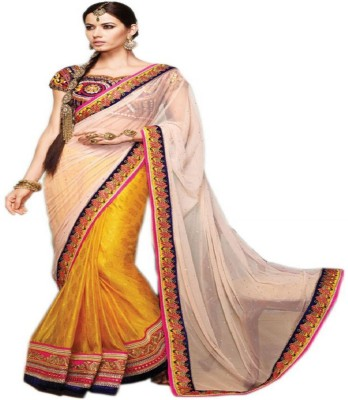 Swikriti Creations Embriodered Fashion Synthetic Georgette Sari