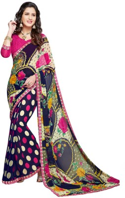 Salwar Studio Floral Print, Polka Print, Printed Daily Wear Synthetic Georgette Sari