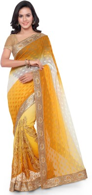 Four Seasons Embriodered Fashion Lycra, Georgette Sari