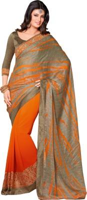Queenbee Animal Print, Embriodered, Embellished, Self Design Fashion Georgette Sari