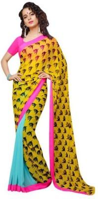 Akshaya Fashons Floral Print Fashion Pure Chiffon Sari