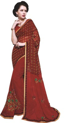 BPS Printed, Checkered, Embellished Fashion Georgette Sari