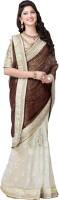 Krishna Fab Embroidered Bollywood Handloom Jacquard, Viscose Sari(Brown, White)