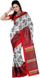 DWM Printed Fashion Art Silk Sari (Red)