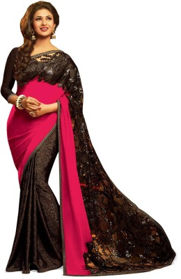 Indianbeauty Self Design, Embriodered Bollywood Net, Pure Georgette Sari