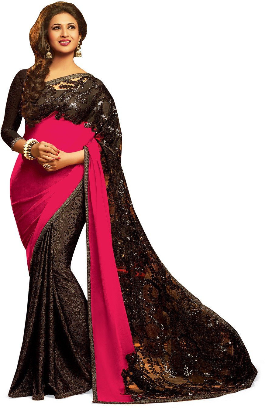 Indianbeauty Self Design, Embroidered Bollywood Net, Pure Georgette Saree(Black, Pink)