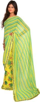 Jagadamba Floral Print Bollywood Georgette Sari