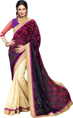 laazree Digital Prints Chanderi Georgette Sari