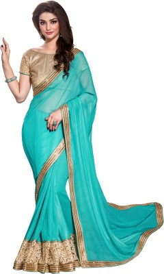 Crafts N Culture Embriodered, Woven Fashion Crepe Sari