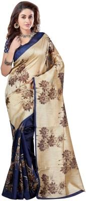 AzyFabrics Printed Bollywood Art Silk Saree(Beige, Blue) at flipkart