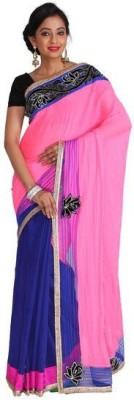 Nav Durga Embriodered, Woven, Applique Bollywood Art Silk Sari
