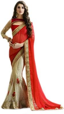 Mayka Designer Self Design Fashion Net, Satin Sari