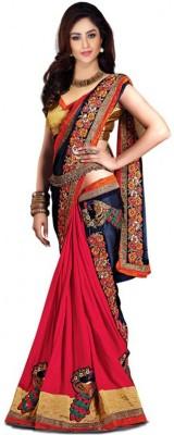 Vihana Solid, Embellished, Embriodered Bollywood Satin, Silk Sari