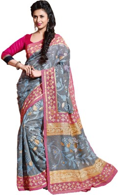 KL COLLECTION Floral Print Bhagalpuri Brasso Sari