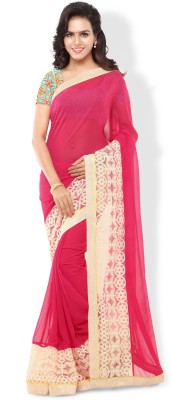 Archishmathi Printed Bollywood Chiffon Saree(Red) at flipkart