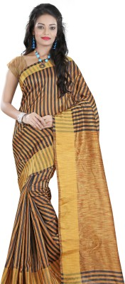 Needle Impression Striped Fashion Handloom Polycotton Sari(Mustard)