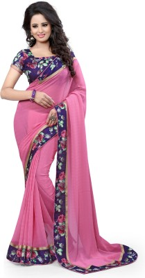 Arya Fashion Solid Fashion Georgette Saree(Pink) at flipkart