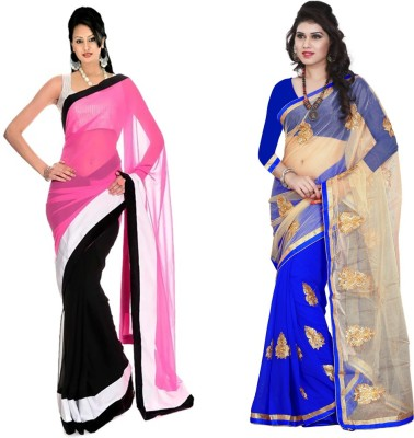 MA Solid Fashion Georgette, Net Sari