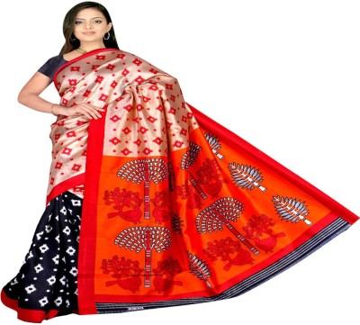 Kristel Garments Floral Print Bollywood Silk Sari