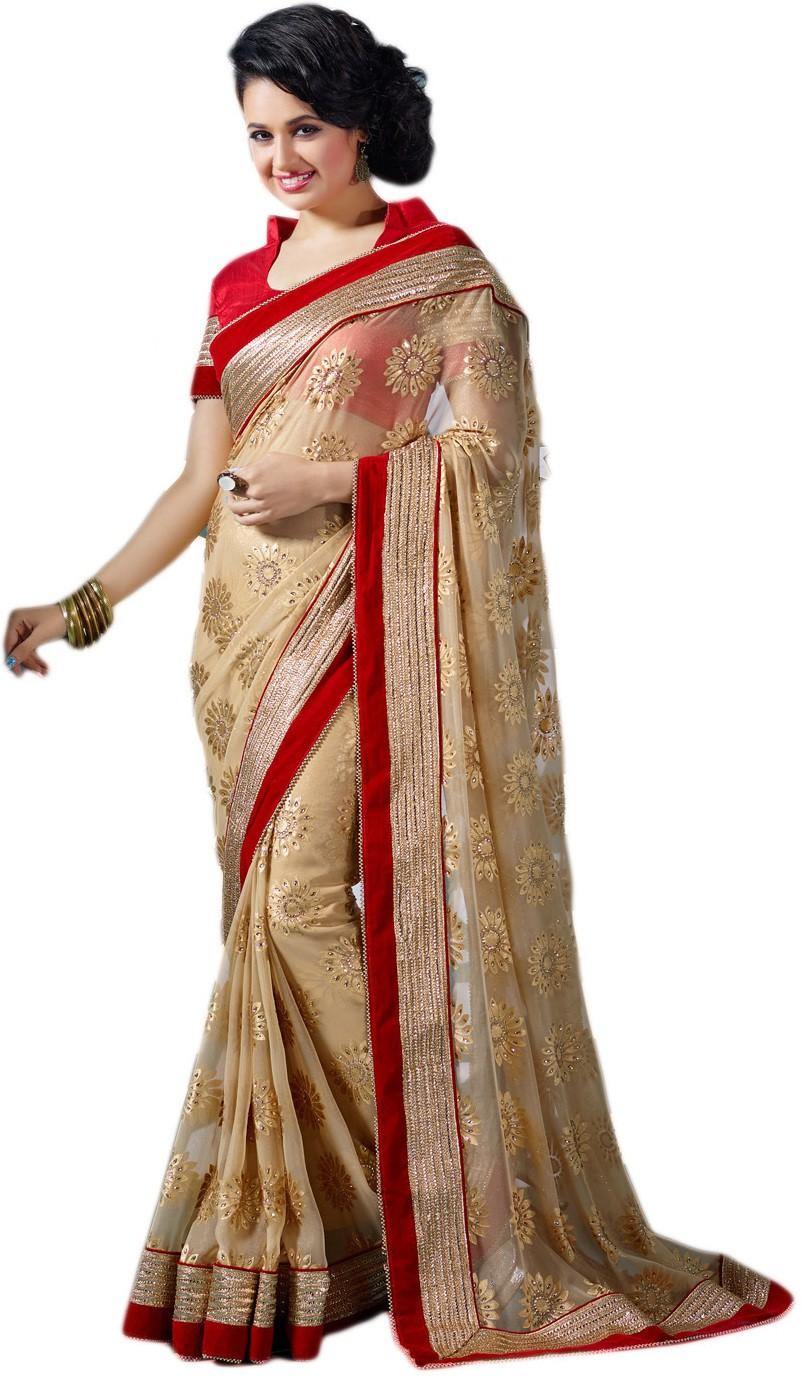 M.S.Retail Embriodered Fashion Handloom Brasso Sari