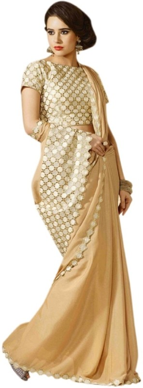 Khantil Solid Fashion Chiffon Saree(Gold)