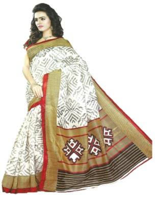 DESIGN WILLA Printed Bollywood Silk Cotton Blend Sari