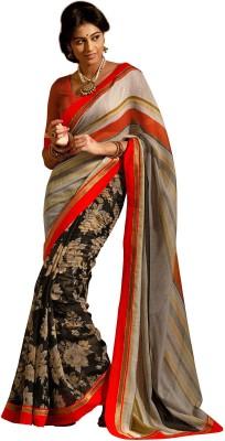 Vonage Floral Print, Striped Fashion Silk Sari