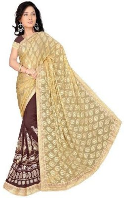 Krishna Creation Embriodered Fashion Brasso Fabric Sari