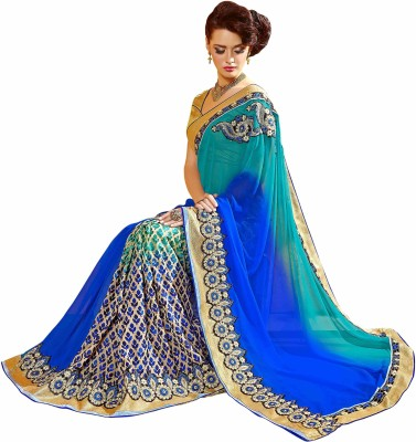 Dilwaa Self Design, Embriodered, Embellished Fashion Georgette, Jacquard Sari