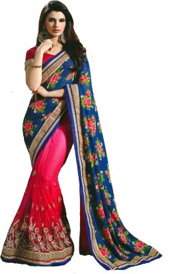 DIVINEFASHIONSTUDIO Embriodered, Printed Fashion Georgette Sari