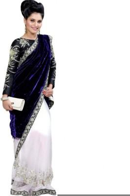 Lime Embriodered Fashion Handloom Velvet Sari