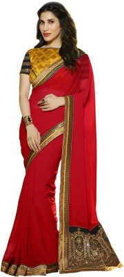 The Color Tex Embriodered Bollywood Georgette, Raw Silk Sari