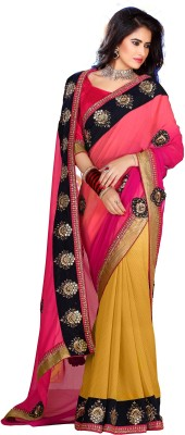 SAS CREATIONS Solid Fashion Georgette Sari
