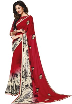 Palav Fabrics Embriodered, Plain, Embellished, Printed, Floral Print Fashion Georgette Sari