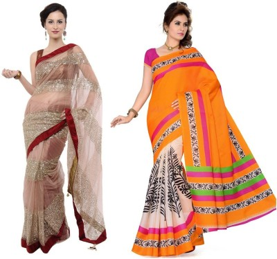 RockChin Fashions Plain, Printed Bhagalpuri Net, Art Silk Sari