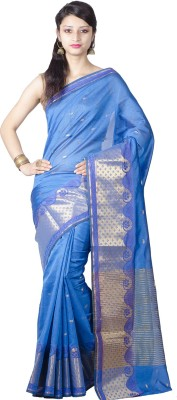 Chandrakala Printed Banarasi Silk Saree(Blue) at flipkart