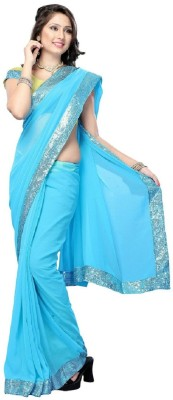 Aanaya Fashions Solid Fashion Georgette Sari