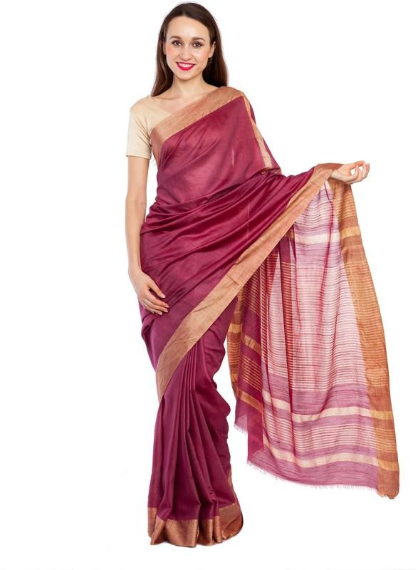 Elite Handicrafts Striped Bhagalpuri Handloom Silk Cotton Blend Saree(Maroon, Purple)